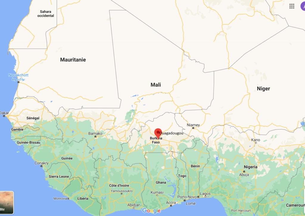 Situation de Ouagadougou en Afrique de l'ouest.
