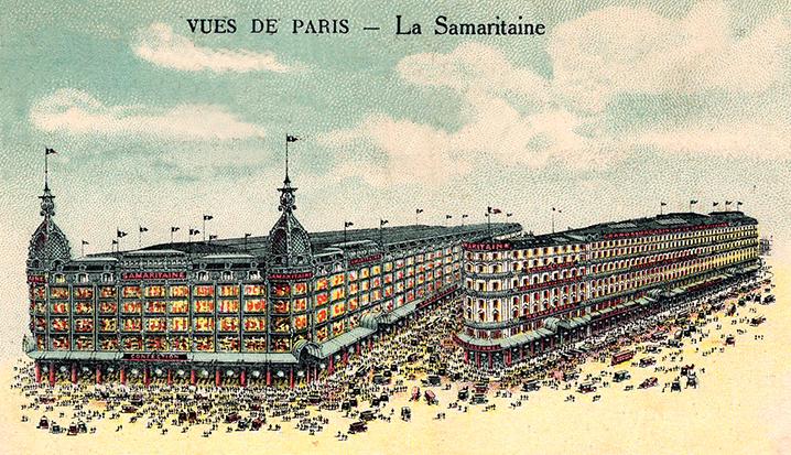 « carte postale de 1926, le magasin 1 ouvert en 1870. Frantz Jourdain (…)  a construit entre 1905 et 1910, le magasin 2, à gauche… »